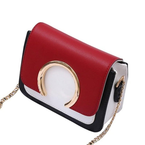 Red and Navy Ring Accent Purse