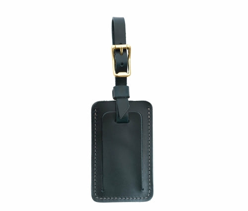 Black Leather Luggage Tags