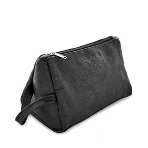 Black Montaña Leather Toiletry Bag
