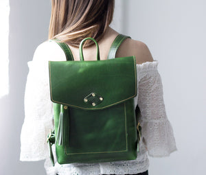 Emerald Green Ladies Leather Backpack