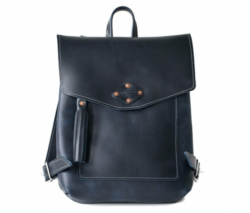 Blue Ladies Leather Backpack