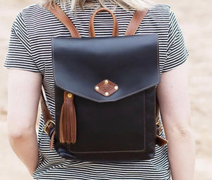 Black Ladies Leather Backpack