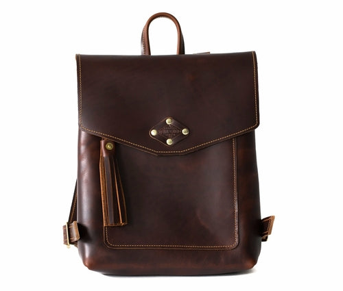 Brown Ladies Leather Backpack