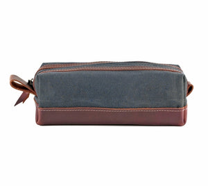 Gray Waxed Canvas Toiletry Bag Side