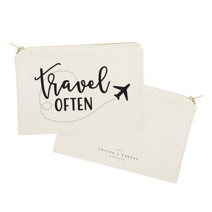 Travel Often Cotton Canvas Cosmetic Bag