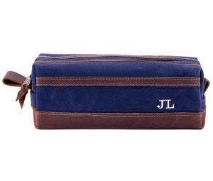 Blue Waxed Canvas Toiletry Bag Personalized Side