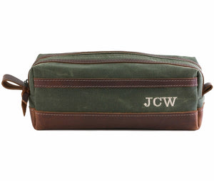 Emerald Green Waxed Canvas Toiletry Bag Personalized Side