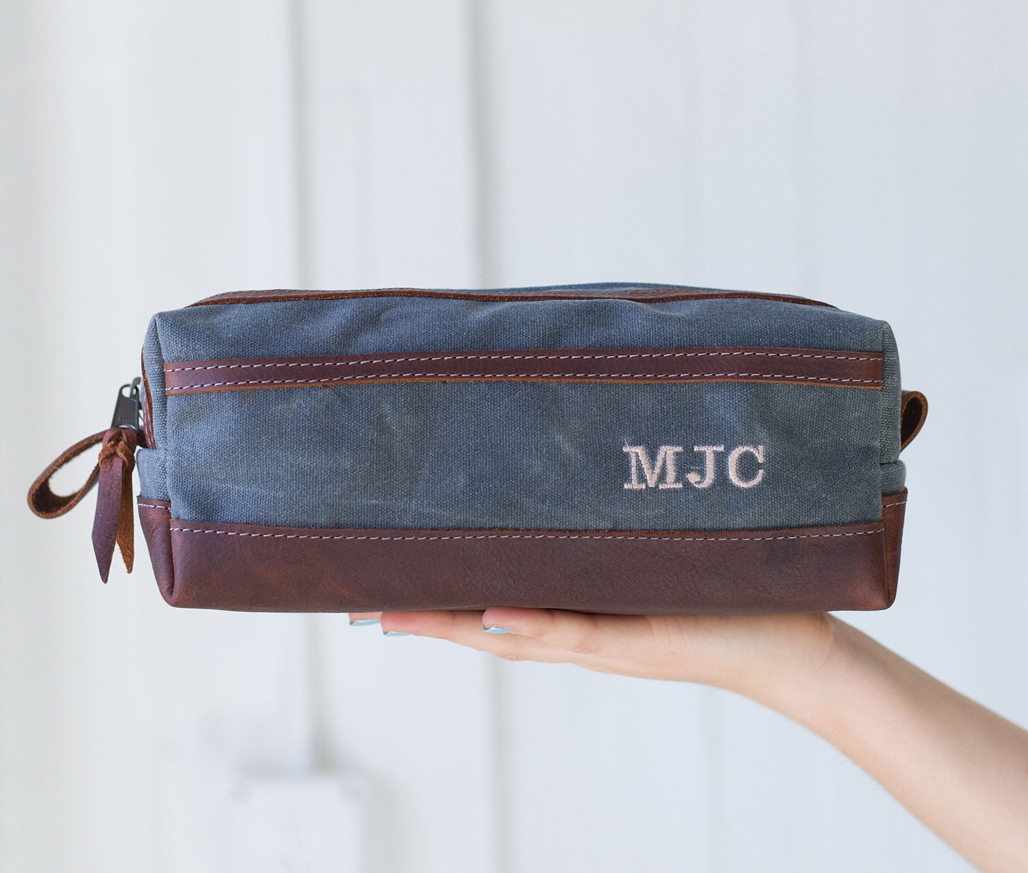 Gray Waxed Canvas Toiletry Bag Personalized Side