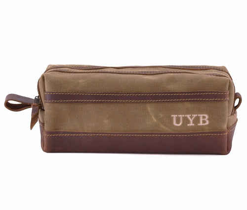 Oxford Brown Waxed Canvas Toiletry Bag Personalized Side
