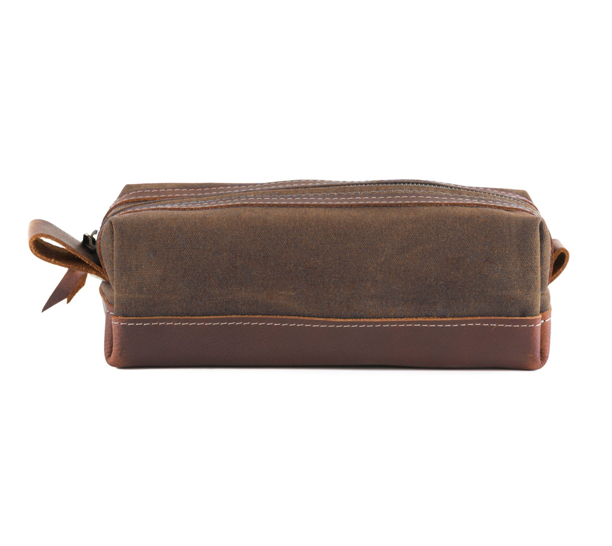 Brown Waxed Canvas Toiletry Bag