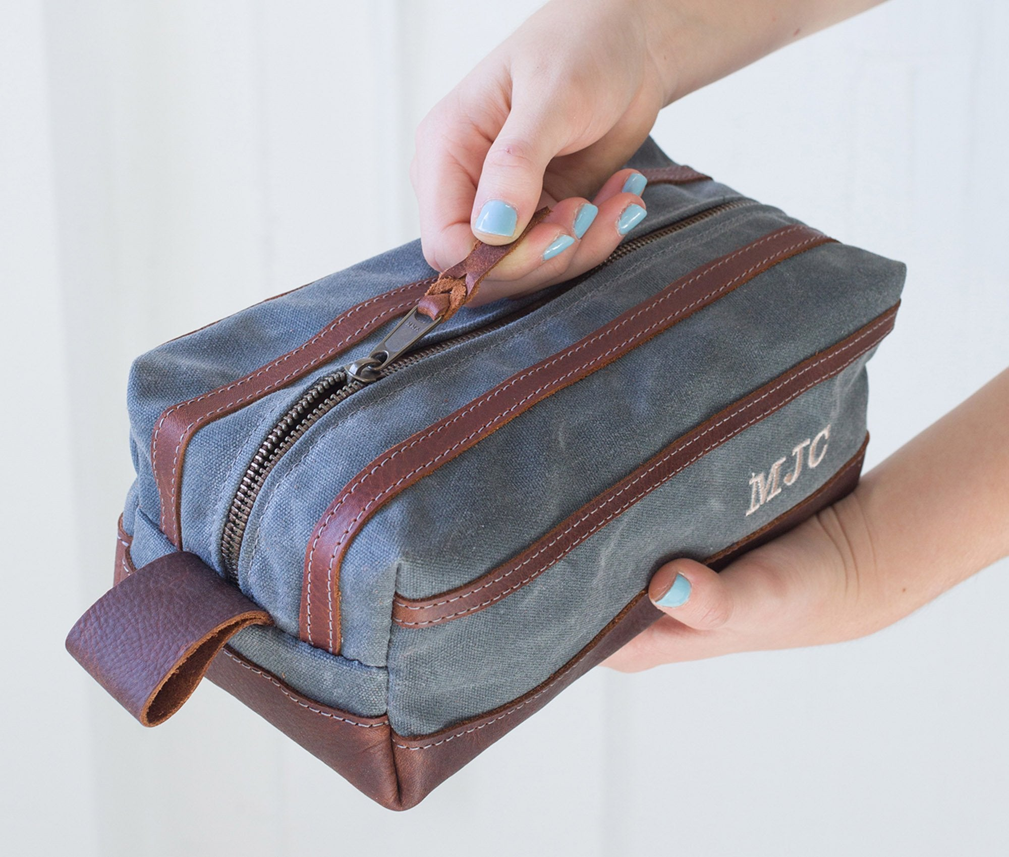 Gray Waxed Canvas Toiletry Bag Zipper