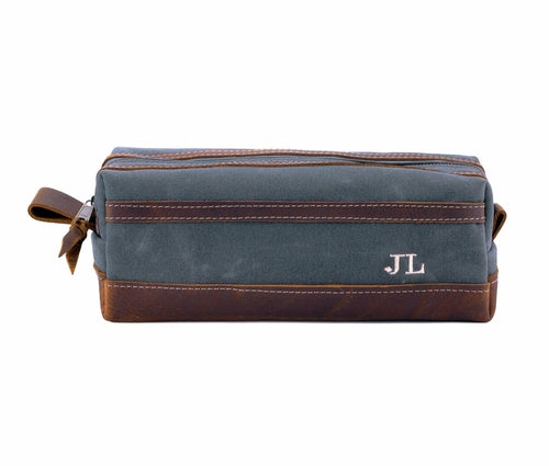 XL Gray Waxed Canvas Toiletry Bag Personalized Side