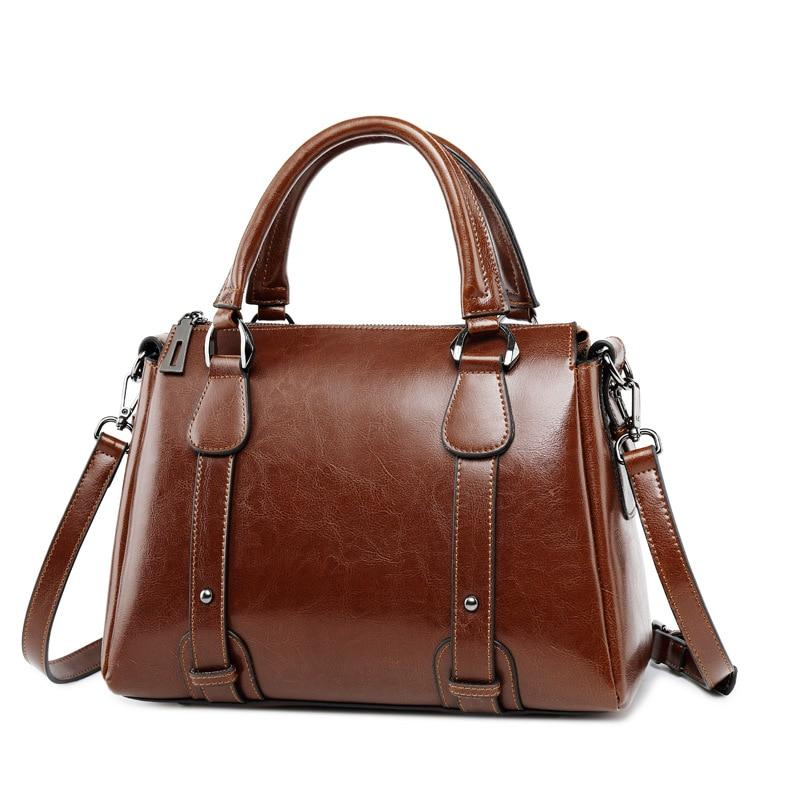 Brown Leather Casual Tote Handbag