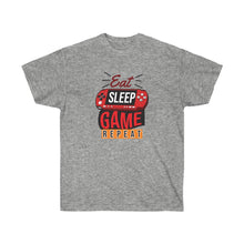 Load image into Gallery viewer, EAT SLEEP GAME REPEAT UNISEX TEE