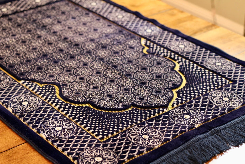 Turkish Luxury Double Plush Prayer Rug- Dark Blue # 3