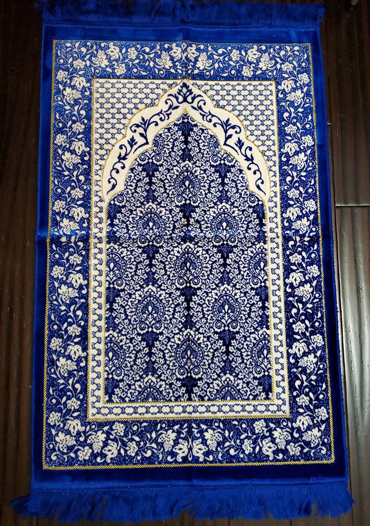 Turkish Luxury Double Plush Prayer Rug-  Blue # 7
