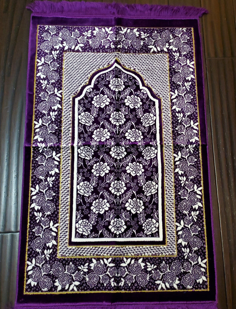 Turkish Luxury Double Plush Prayer Rug- Purple # 11