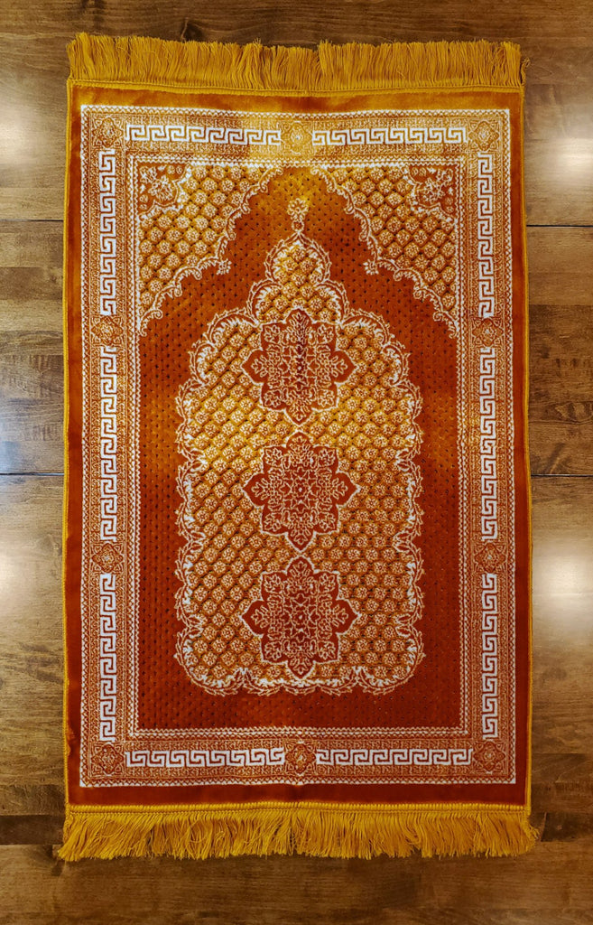 Turkish Luxury Double Plush Prayer Rug- Gold # 2