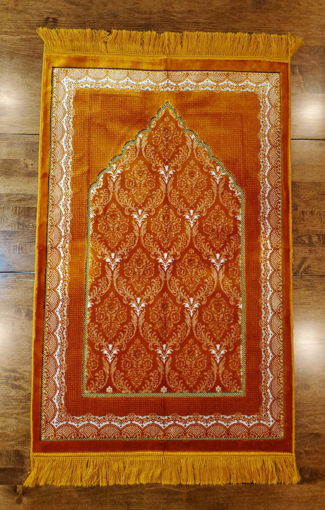 Turkish Luxury Double Plush Prayer Rug- Gold # 5