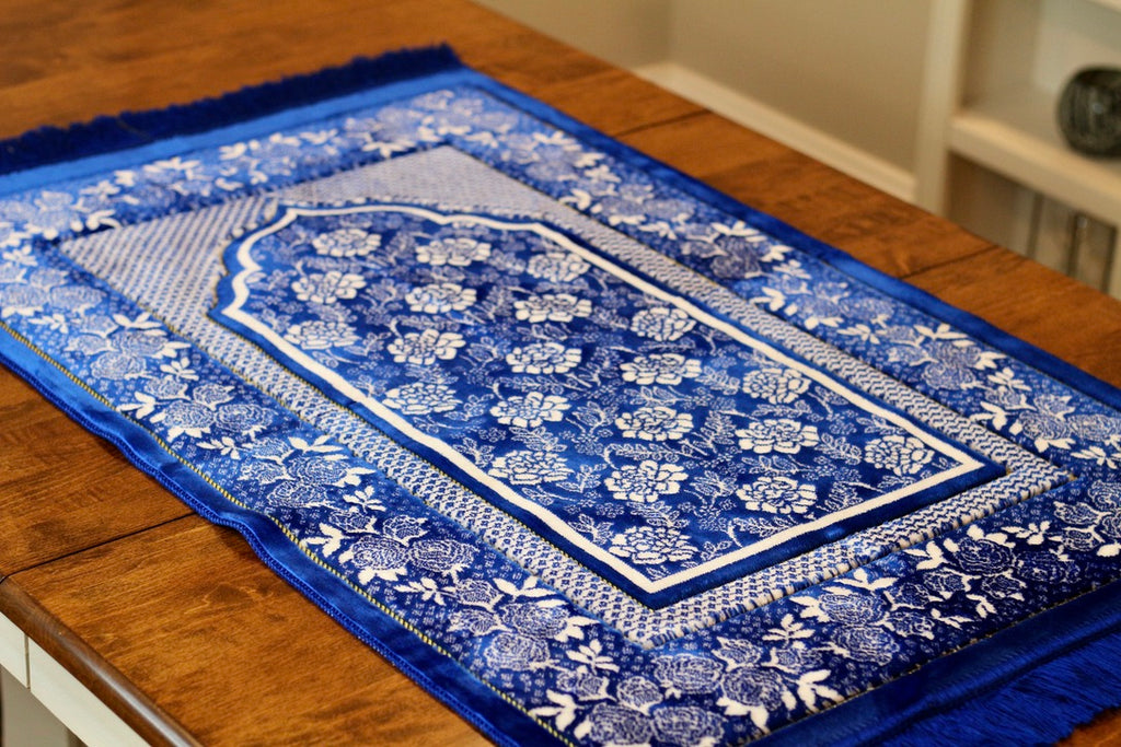 Turkish Luxury Double Plush Prayer Rug- Blue # 11