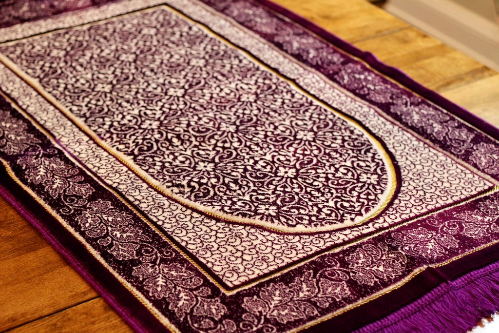 Turkish Luxury Double Plush Prayer Rug- Purple #8
