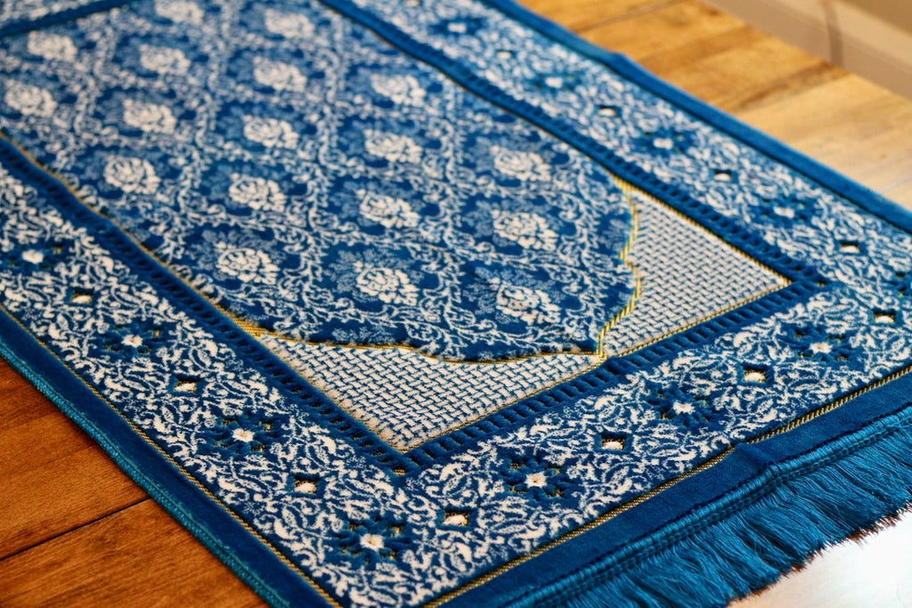 Turkish Luxury Double Plush Prayer Rug- Teal # 9