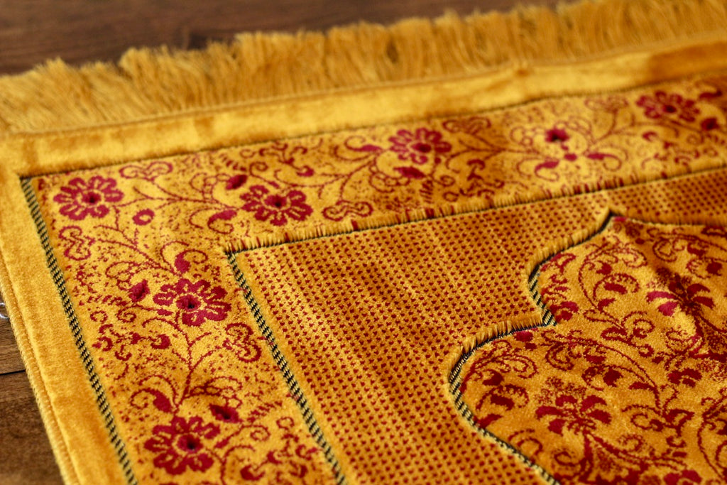 Turkish Luxury Double Plush Prayer Rug- Dark Gold # 4
