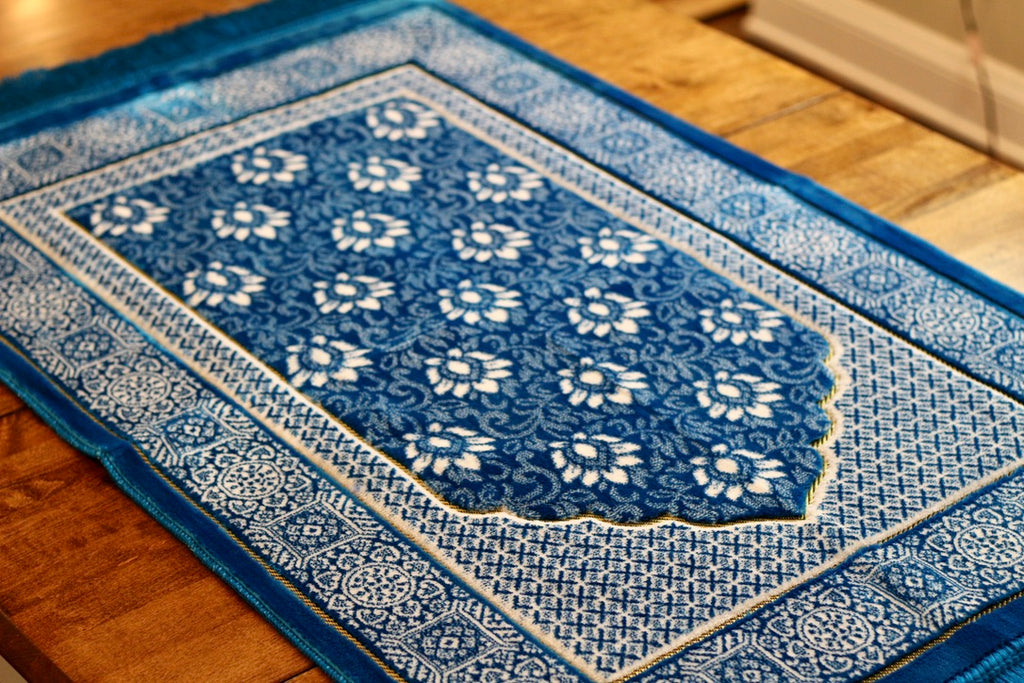 Turkish Luxury Double Plush Prayer Rug- Teal # 12