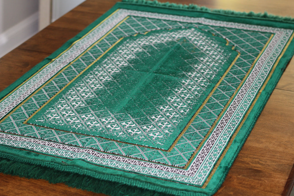 Turkish Luxury Plush Prayer Rug- Dark Green #4