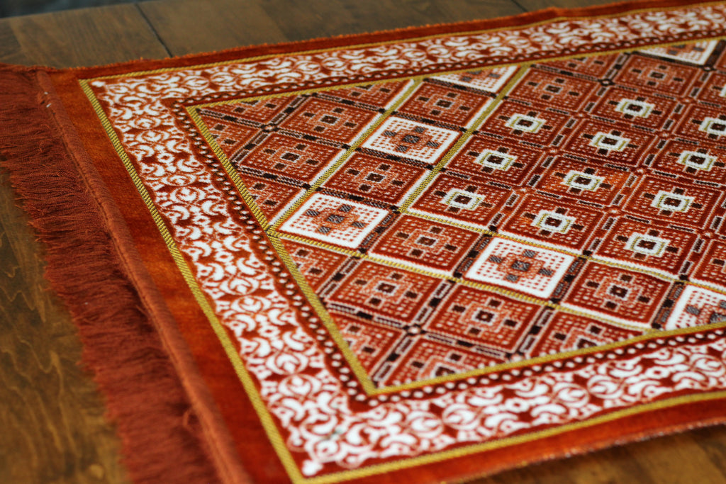 Turkish Luxury Plush Prayer Rug- Orange #2