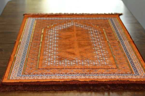 Turkish Luxury Plush Prayer Rug- Orange #4