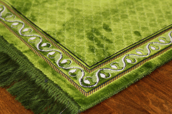 Turkish Luxury Plush Prayer Rug- Green #5