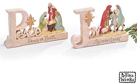 burton+BURTON Peace and Joy Nativity Shelf Sitters