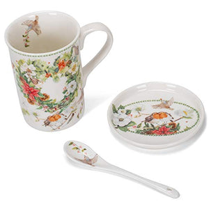 Delton Products 8155-4 Mug-Coaster-Spoon Set, Christmas Wreath