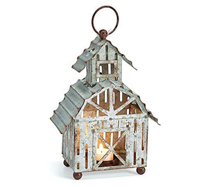 Burton and Burton 9733893 Distressed Silver Tin Farmhouse Shape Candleholder