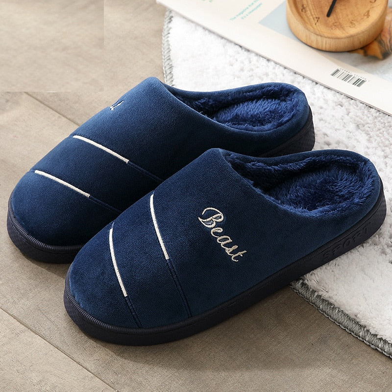 Male cotton slippers, winter, indoor home, home new couple simple slippers