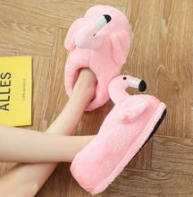 Load image into Gallery viewer, Winter lovely Home Slippers Chausson Shoes Women Flamingo slippers pantuflas unicornio pantoufle femme Warm Cotton Shoes hy24