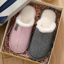 Load image into Gallery viewer, Men and Women Cotton Slippers Women's Autumn and Winter Plus Velvet Warm Couple Home Fur Wool Slippers Home ShoesCotton Slippers