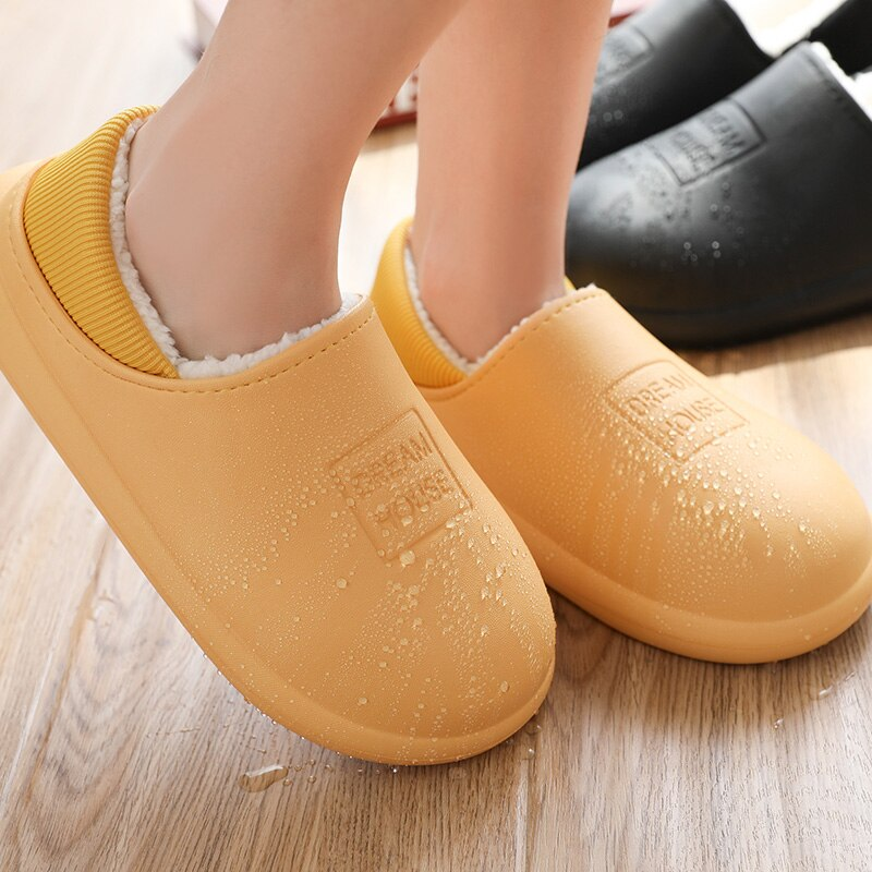 Waterproof Women Winter Home Slippers Indoor Work Home Shoes Cotton Non-slips Ladies Soft Slippers Memory Foam Couples Shoes