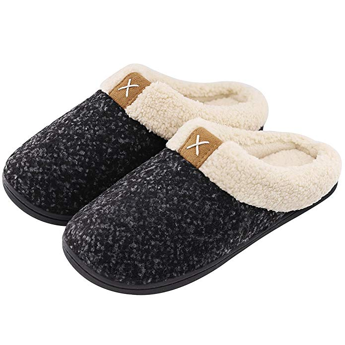 ASIFN Men Cozy Memory Foam Slippers Home Warm Winter Male Shoes Indoor Man Fur Basic Non-Slip Slipper Sepatu Pria Plus Size