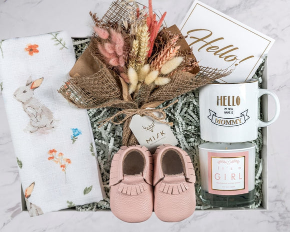 Greeting Baby Gift Box with Flowers (For Girls&Boys)