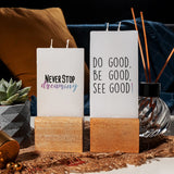 Decorative Wooden Base Motto Candle Sets