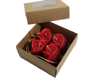 Rose and Rose Bouquet Heart Candle Sets 4 Pieces