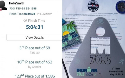 On the left, Holly's time at the 70.3 Ironman Gulf Coast; on the right, her acceptance letter for the 2019 70.3 World Championship
