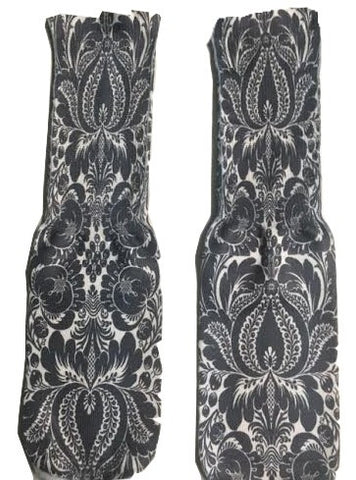Black and White Floral Design Socks