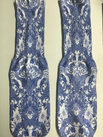 Blue and White Floral Design Socks
