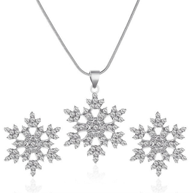 Snowflake Necklace Earrings Christmas Luxury Jewelry - DailyShopz™