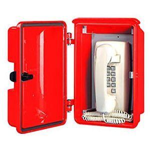 Allen Tel GB94V02 Mini Wall Phone With Weather Resistant Enclosure, TELEPHONE Logo, Red Housing with standard push latch