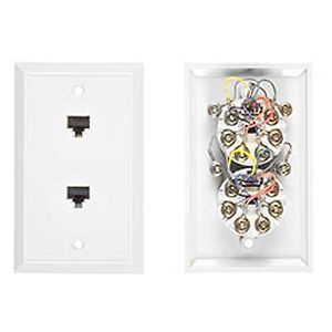 Allen Tel AT217-4-15 Phone Wall Jack, 4-Conductor, Flush Mount Duplex, White