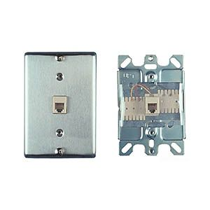 Allen Tel AT630B-6 Wall Phone Outlet Jack, Stainless Steel, 6-Position, 6-Conductor